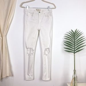 Free People White High Rise Distressed Skinny Jean